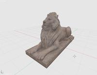 statue lion obj