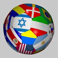 3d model of soccer ball flag