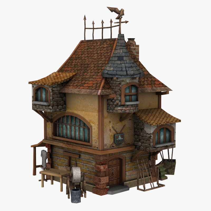 Medieval building 3d model for 3d house model maker