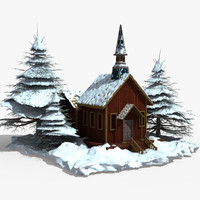 wood house snow 3d model