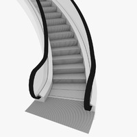 3d model curved escalator