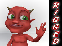 rigged cartoon demon baby character obj