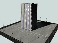 3d building parking lot model