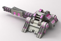 3d model sci-fi laser cannon pink