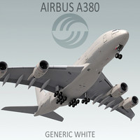 3d airbus a380 generic white