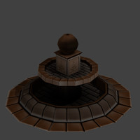 medieval fountain 3d obj
