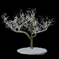 3ds max tree 3 branches snow