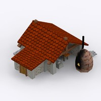3d model cartoon stone blacksmith shop