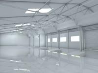 hangar white 3d model