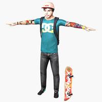 male skater character skate 3d model