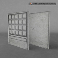 free concrete fence 3d model