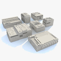 sci fi buildings set 3d model
