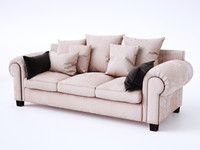 Stalian sofa with pillows and studs