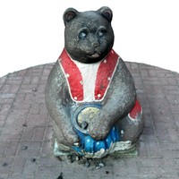 3d sculpture bear cityscape