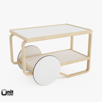 3d tea trolley 901 alvar aalto model