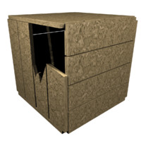 3d model cracked wood crate