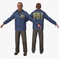 white male fbi agent 3d max