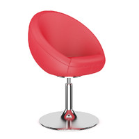 red leather swivel 3d model