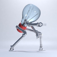 light bulb robot 3d model