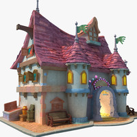 3d model of cartoon building toon