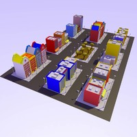 3d cartoon city building model