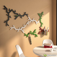 3d model tree hooked coat rack