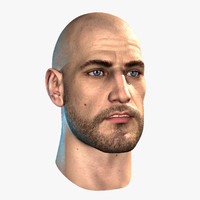3d hairless male head realtime model