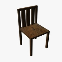 wooden chair 3d x