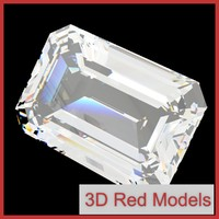 3d diamond emerald cut model