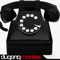 3d retro phone black