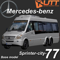 3d model sprinter city bus mercedes-benz