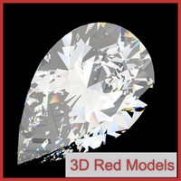 diamond pear cut 3d obj