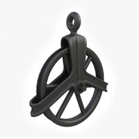 vintage cast iron pulley 3d model