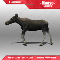 3d model female moose animations