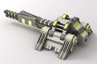 3d model sci-fi laser cannon green