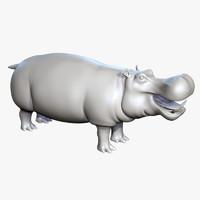 3d hippopotamus hippo