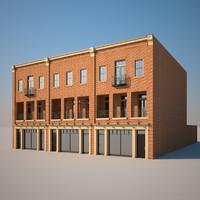 3d 3 brick building model
