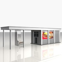3d bus stop shelter food model