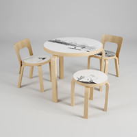 3d artek moomin chair table