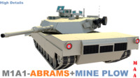 M1A1-Abrams+Mine plow