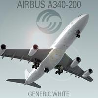 c4d airbus a340-200 generic white