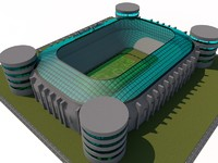 santiago football stadium madrid 3d c4d