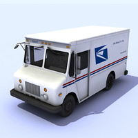 low-poly mail truck 3d max
