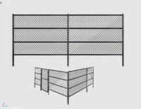 3d metal grid fence model