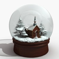 3d snow snowglobe globe model