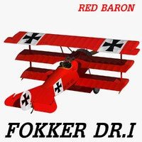 3d fokker dr red baron model