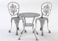 bistro table chair set 3d max