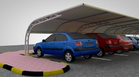 3d car parking shade model