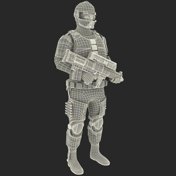 3d model of futuristic army soldier pose - Futuristic Army Soldier Pose 1... by 3d_molier