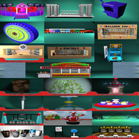 carnival booth rollercoaster 3d model